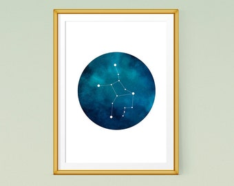 Virgo constellation print, Zodiac art, Printable poster