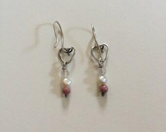 Vintage Heart Shaped Quartz Pearl Beaded 925 Sterling Silver Wire Dangle Earrings