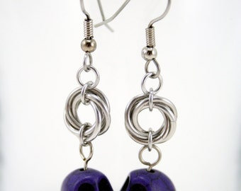 Purple Skull and Mobius Knot Chainmaille Earrings