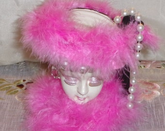 """Vintage 6""""  Lady Head Vase Upscaled with Pink Feathers,  Rhinestone Earrings and Pearls OOAK"""