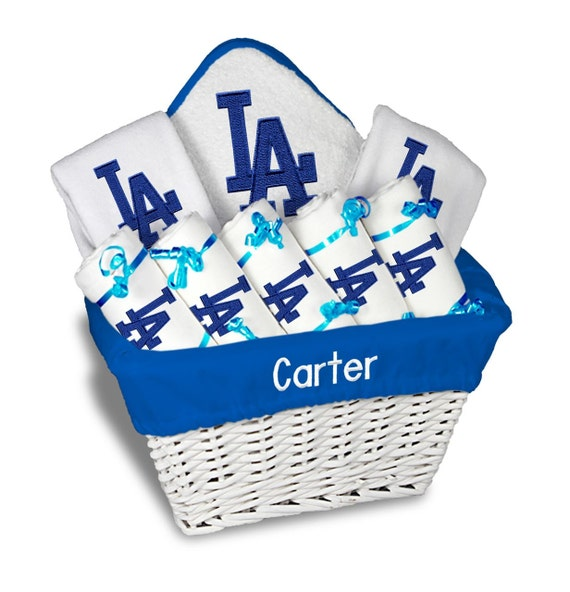 Baby Gift Los Angeles : Personalized los angeles dodgers baby gift basket bibs