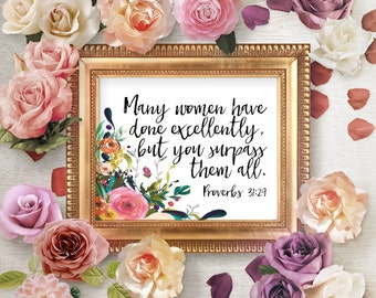 Proverbs 31 Scripture Prints, Proverbs 31:29 Bible Verse, Proverbs 31 Wall Decor, Floral Proverbs 31 Scripture, Mother's Day Wall Art Gift