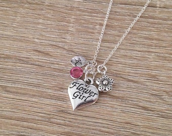 Heart Flower Girl Necklace, Personalised Wedding Gift, Flower Girl Jewelry, Letter Initial Charm, Crystal Birthstone Pendant, Antique Silver
