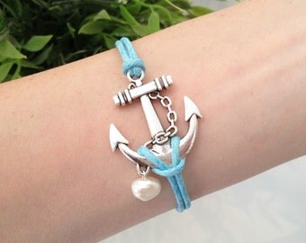 Anchor Bracelet, Nautical Jewelry, Blue Cord Bracelet, Ocean Jewelry, Beach Bracelet, BFF Jewelry, Friendship Gift, Antique Silver Charm