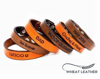 PERSONALIZED LEATHER BRACELET // Personalised Leather Bracelet // Leather Cuff // Own words // Customised bracelet // Customized bracelet