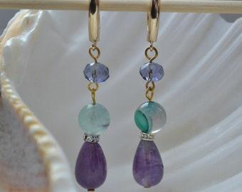 Jade and amethyst dangle earrings