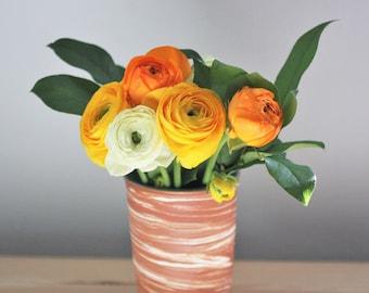 Marbled Pottery Vase – Ceramic Flower Vase – Handmade Ceramic Vase – Agateware Vase – Rustic Flower Vase