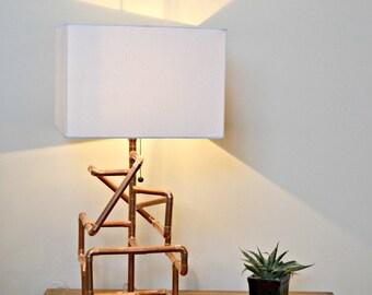 "Handmade Minimalist Industrial Design Copper Tube Pipe ""Matrix"" Table Lamp"