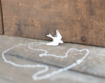 Flying Bird Necklace Handmade from Sterling Silver