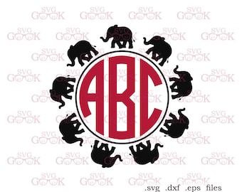 Elephant Circle Monogram Frame SVG cut files, svg cut files for use with Silhouette, Cricut and other Vinyl Cutters, digital cut file