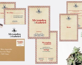 Wedding invitation, wedding and stationery country trip - blue & red wedding invitation vintage wedding, nature wedding fairepart, fairepart printable