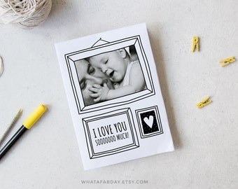 Custom photo card, Mothers day personalized photo card, Coloring card, Printable card, Love card, Birthday card, Fathers day, Anniversary