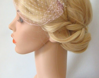 Blush Pink Veil, Mini Birdcage Veil, Pink Veil, Bridal Veil, Birdcage Veil Headband, Rose Gold Veil, Blush and Gold Wedding