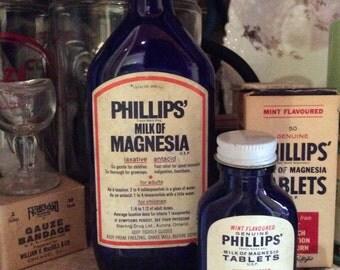 Vintage 2 Philips milk of Magnesia cobalt blue medecine bottle and tablets and original label box
