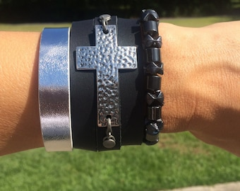 Stackable Leather Cuff Cross Bracelet and Beads