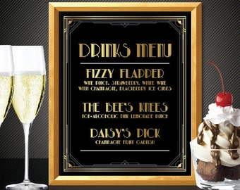 Great gatsby decorations great gatsby menu great gatsby drinks menu great gatsby wedding art deco wedding custom menu great gatsby party
