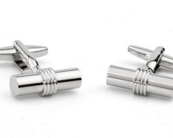 Cufflink Classical with Cylinder Shape and Central Ring