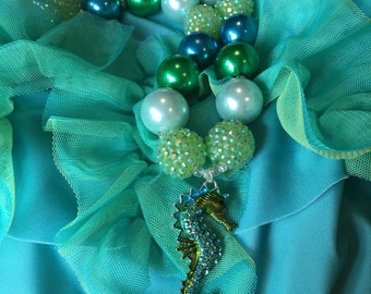 Green & Blue Bubblegum Bead Necklace with Seahorse Rhinestone Pendant