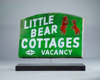 Little Bear Cottage Sign photo / Cabin art / trailer park art / Lake Tahoe sign / Children's room art / Nursery decor / Vintage motel sign