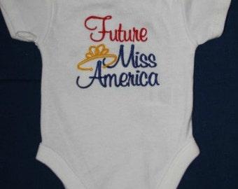 Future Miss America embroidered bodysuit