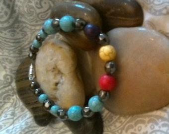 Hematite and Color Stones Bracelet