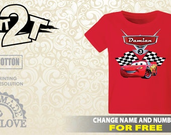 Cars Lightning McQueen T-Shirt, Custom Name and Number 1st 2nd 3rd 4th 5th 6th 7th Birthday toddler, , Boys T-Shirt
