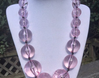Pretty in Pink-Vintage Pink Lucite Beaded Necklace