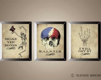 GRATEFUL DEAD Series Of 3 Posters, Prints, Lyric Art, Skeletons, 11 x14