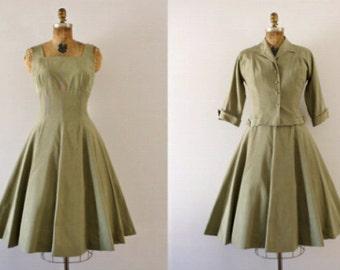 1950s olive sweetheart 2 pc dress/50s bobbie brooks