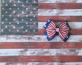 Girls Patriotic 4 inch double pinwheel hairbow