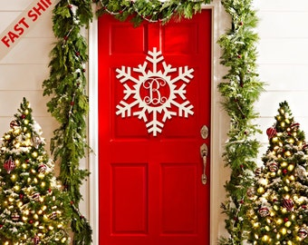 Wooden Snowflake Monogram, Wood Painted Monogram, Christmas decoration, Winter Wreath, Door Hanger, Wooden Initials, Wood Letters #2304