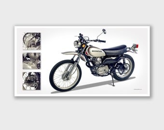 "Vintage Motorcycle Art Print - Poster #5 - Bob Logue Bikes Collection - 25""x13"""