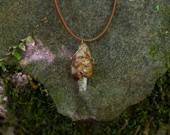 Triangle- wrapped Quartz Crystal and Fungus Necklace