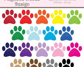Paw Print Clip Art, Animal Paw Clip Art, Animal Paw Print Clip Art, Paw Print PNG, Digital Paw Print, Small Commercial Clip Art