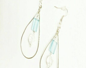 Light blue crystal and silver drop earrings