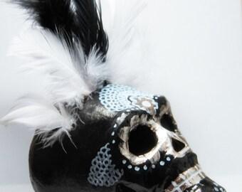 Santa Muerte Skull, Day Of The Dead Skull, Handmade Paper Mache Altar Skull, Vodou Altar, Dia De Los Muertos Skull -GHEDE
