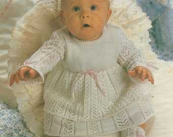 Baby Dress and Bootees Machine PDF Knitting Pattern : Babies 16, 18, 20 inch chest . Knitmaster 260 and 360 with Lace Carriage