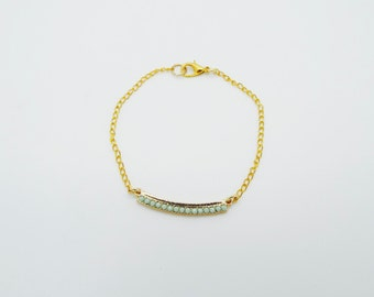 Gold Chain Bracelet with Mint/Gold Charm