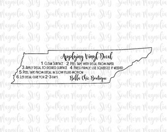 TENNESSEE Vinyl Application Instruction Card - Print and Cut File - Silhouette - Cricut - Care Instructions - SVG - Design - File ONLY