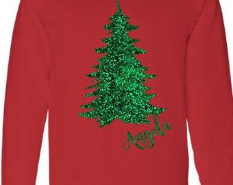 Christmas Shirt, Glitter TShirt, Tree Shirt, Long Sleeve Shirt, Holiday Shirt, T-Shirt Long Sleeve, Custom Shirt,  Cotton Long Sleeve