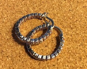 Silver and Pink Gemstone Hoop Earrings