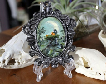 Pumpkin Head Graveyard Original Tiny Cameo Painting