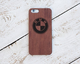BMW, Wood Case, iPhone 8, iPhone X, 7, 7 Plus, 6s, 6 6 Plus, 5s, 5, SE, Samsung Galaxy S8, S7, S6, Cover, Engraved #4090