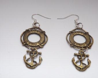 life ring/anchor earrings