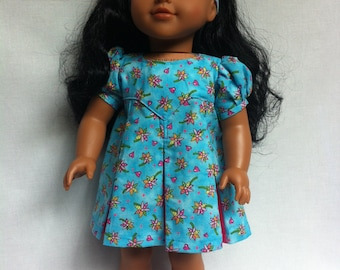 American Girl Doll Clothes - Turquoise Pleated dress