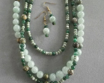 Jasper and Aventurine Necklace and Earrings Set
