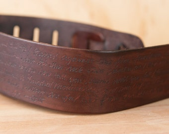 Guitar Strap - Personalized Leather Guitar Strap in the Smokey Pattern in Chocolate Brown - For Acoustic or Electric Guitars