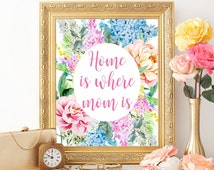 Mother's day print, Mothers day card, Home is where mom is, Mother's day printable, Mother's day quote, Mothers day floral flowers digital
