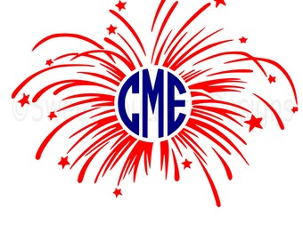 Monogram fireworks fourth of July Memorial Day SVG instant download design for cricut or silhouette