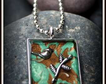 Blue and Green Necklace with a Bird & Branch - Hand Painted